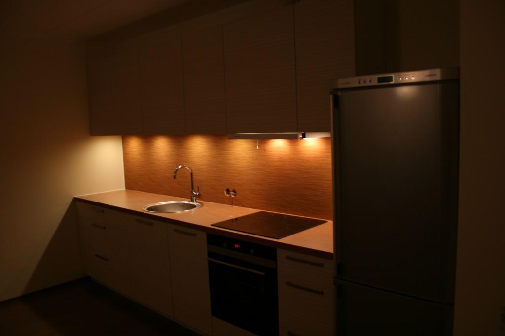 KÖÖGIMÖÖBEL      Klient - Eraklient    Materjalid - Uksed 16mm melamiin (Triibuline), karkass 16mm melamiin (Valge), tööpind ja pritsmesein laminaat. (4)